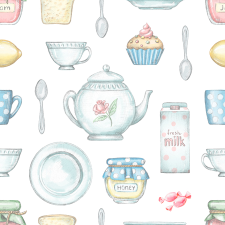 Seamless pattern with tea cup, teapot, jam, honey, milk, candy, spoon, toast, plate, lemon and cupcake isolated on white background. Lead pencil graphic and digital illustration