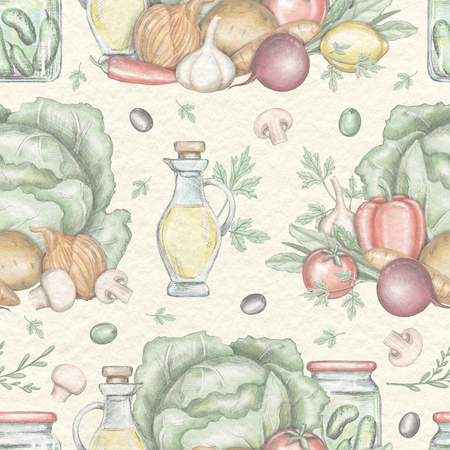 Seamless pattern with vegetable compositions isolated on beige paper texture background. Lead pencil graphic and digital illustration Stok Fotoğraf