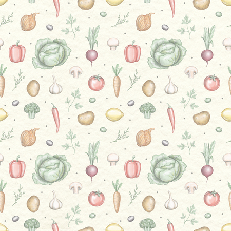 Seamless pattern with various fresh vegetables isolated on beige paper texture background. Lead pencil graphic and digital illustration
