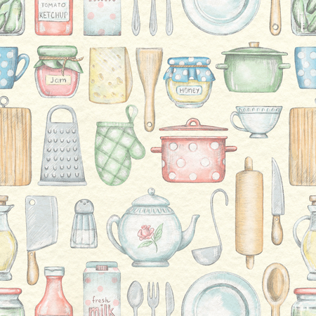 Seamless pattern with various kitchenware, grocery products and tableware isolated on beige paper texture background. Lead pencil graphic and digital illustration