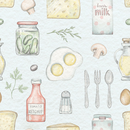 Seamless pattern with various grocery products isolated on blue background. Lead pencil graphic and digital illustration