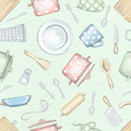Seamless pattern with various kitchenware and tableware isolated on light green background. Lead pencil graphic and digital illustration Stock Photo