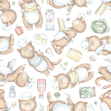Seamless pattern with cooking cats and grocery products isolated on white background. Lead pencil graphic and digital illustration