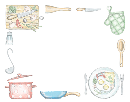 Rectangular frame with various food, kitchenware and tableware isolated on white background. Lead pencil graphic and digital illustration