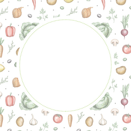 Round frame with various fresh vegetables. Lead pencil graphic and digital illustration