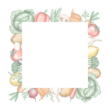Quadratic frame with various fresh vegetables isolated on white background. Lead pencil graphic and digital illustration