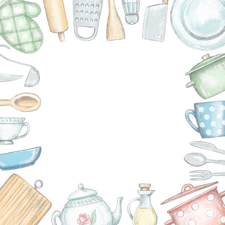 Quadratic frame with various kitchenware and tableware isolated on white background. Lead pencil graphic and digital illustration Stock Photo