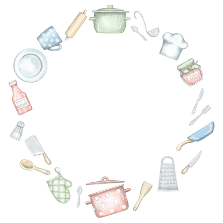 Round frame with various kitchenware and tableware isolated on white background. Lead pencil graphic and digital illustration Stock Photo