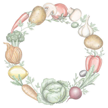 Round frame with various fresh vegetables isolated on white background. Lead pencil graphic and digital illustration