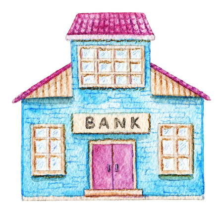 Cartoon bank building isolated on white background. Watercolor hand painted illustration Stock Photo