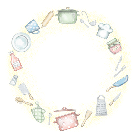 Round frame with various kitchenware and tableware on yellow background. Lead pencil graphic and digital illustration