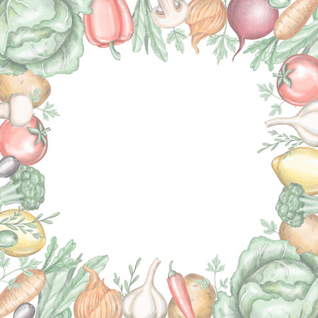 Quadratic frame with various fresh vegetables on white background. Lead pencil graphic and digital illustration Stock Photo