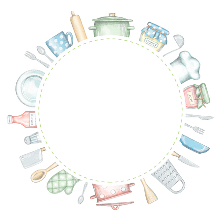Round frame with various kitchenware and tableware isolated on white background. Lead pencil graphic and digital illustration Standard-Bild - 116626881
