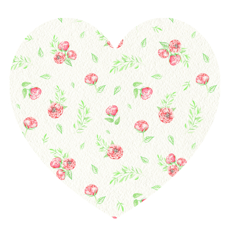 Floral heart with red flowers, summer grass and leaves for Valentine day isolated on white background. Watercolor hand drawn illustration