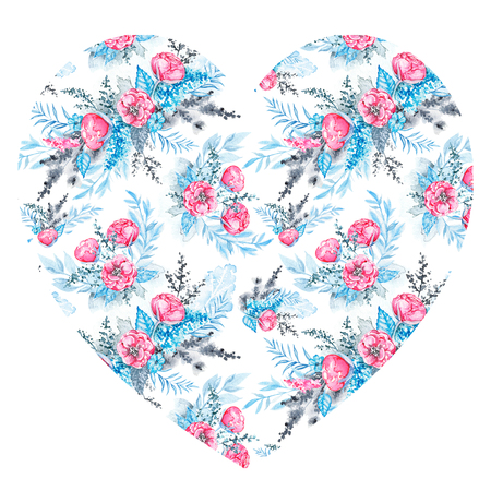 Floral heart with pink flowers and blue leaves for Valentine day isolated on white background. Watercolor hand drawn illustration Imagens