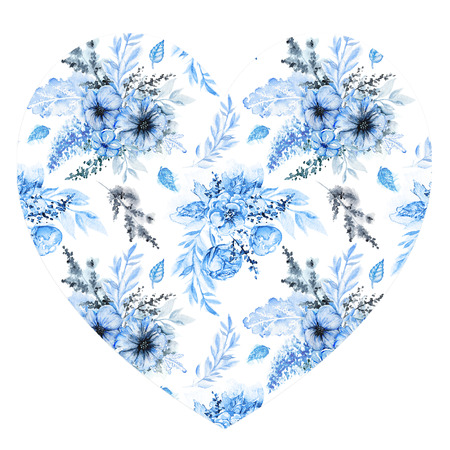 Floral heart with blue flowers and leaves for Valentine day isolated on white background. Watercolor hand drawn illustration