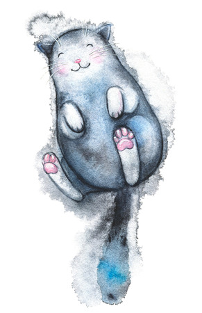 Cute black cat lies and smiles isolated on white background. Watercolor hand drawn illustration Фото со стока
