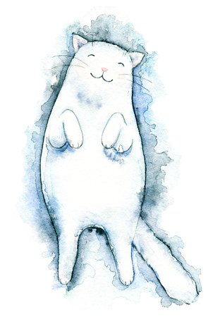 Cute white cat lies and smiles isolated on white background. Watercolor hand drawn illustration