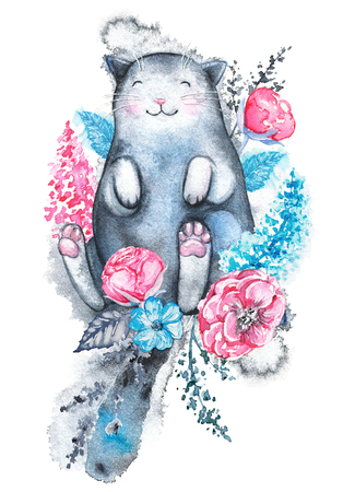 Cute black cat lies in a variety of flowers and smiles isolated on white background. Watercolor hand drawn illustration Stock Photo