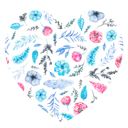 Floral heart with pink and blue flowers, branches and leaves for Valentine day isolated on white background. Watercolor hand drawn illustration