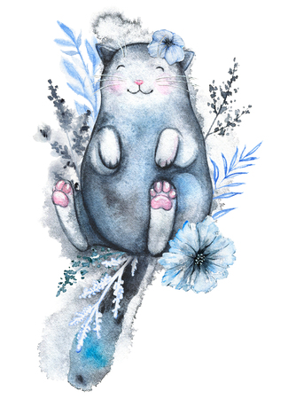 Cute black cat lies in a variety of blue and black flowers and smiles isolated on white background. Watercolor hand drawn illustration Banco de Imagens