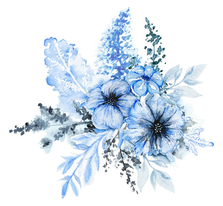 Floral composition in blue colors isolated on white background. Watercolor hand drawn illustration