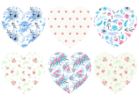 Set of six floral hearts isolated on white background. Watercolor hand drawn illustration