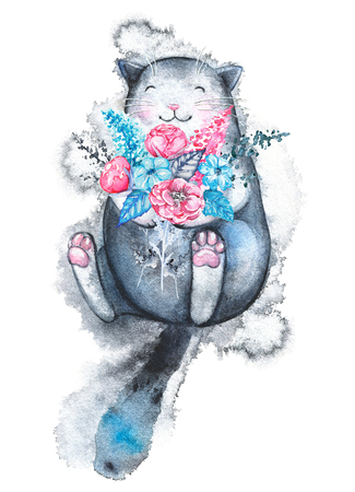 Cute black cat lies with a variety of flowers and smiles isolated on white background. Watercolor hand drawn illustration Stock Photo