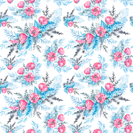 Floral seamless pattern with pink flowers and blue leaves on white background. Watercolor hand drawn illustration Zdjęcie Seryjne