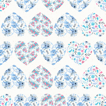 Seamless pattern with blue floral hearts on white canvas background. Watercolor hand drawn illustration