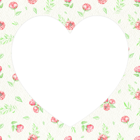 White heart on floral background with red flowers, summer grass and leaves for Valentine day. Watercolor hand drawn illustration