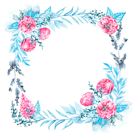 Floral square frame in blue, pink and black colors isolated on white background. Watercolor hand drawn illustration