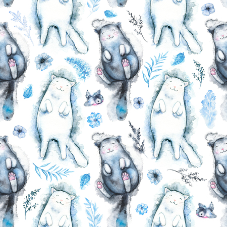 Seamless pattern with black and white cats, twigs, flowers and birds isolated on white background. Watercolor hand drawn illustration