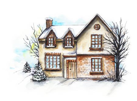 Winter old house, cottage with trees in the snow. Watercolor hand drawn illustration Stock Illustration - 117118135