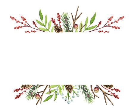Cadre de frontières avec des branches de Noël, des baies, des cônes et des brindilles isolés sur fond blanc. Illustration aquarelle dessinée à la main Banque d'images