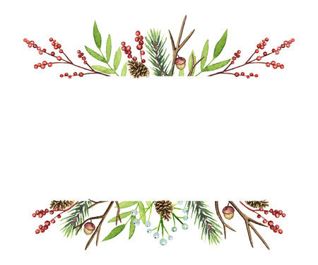 Borders frame with Christmas branches, berries, cones and twigs isolated on white background. Watercolor hand drawn illustration