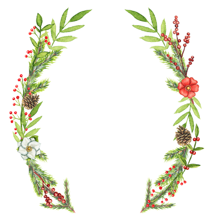 Borders oval frame with Christmas branches, berries, cones, flowers and twigs isolated on white background. Watercolor hand drawn illustration Stok Fotoğraf