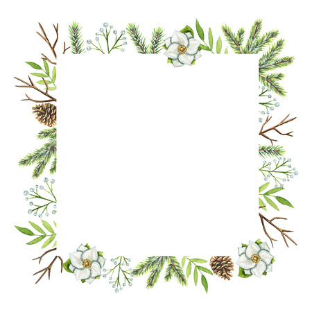 Square frame with Christmas branches, berries, cones, flowers and twigs isolated on white background. Watercolor hand drawn illustration