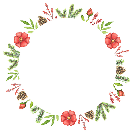 Round frame with Christmas branches, berries, cones, red flowers and twigs isolated on white background. Watercolor hand drawn illustration