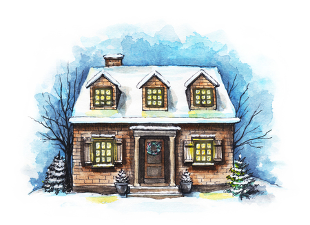 Winter old house, cottage with trees in the snow. Watercolor hand drawn illustration Stock Photo