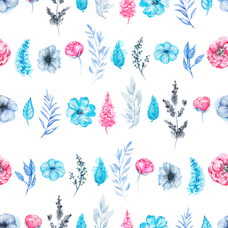 Floral seamless pattern with pink flowers and blue leaves isolated on white background. Watercolor hand drawn illustration Zdjęcie Seryjne - 117604051