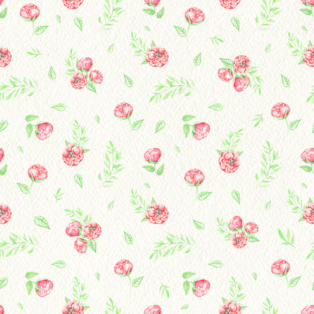 Seamless pattern with small red roses and foliage isolated on paper texture background. Watercolor hand drawn illustration