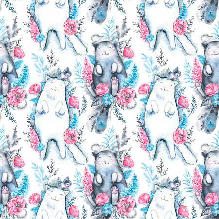 Seamless pattern with blue twigs, rose flowers, black and white cats isolated on white background. Watercolor hand drawn illustration