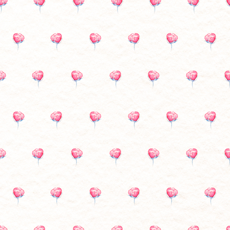 Seamless pattern with small red roses isolated on beige paper background. Watercolor hand drawn illustration