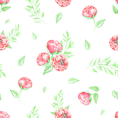 Seamless pattern with small red roses and foliage isolated on white background. Watercolor hand drawn illustration