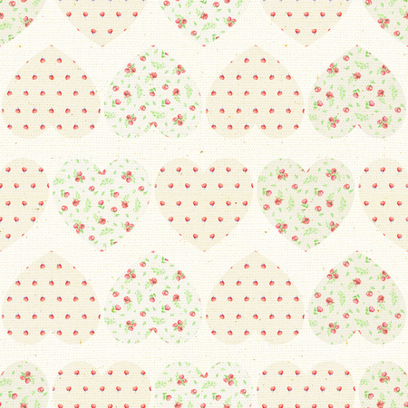 Seamless pattern with beige floral hearts on canvas background. Watercolor hand drawn illustration