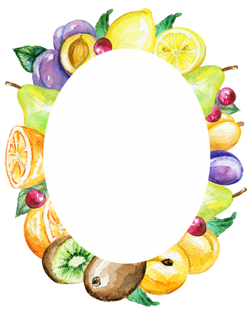 Oval bright frame with fruits. Watercolor hand painted illustration