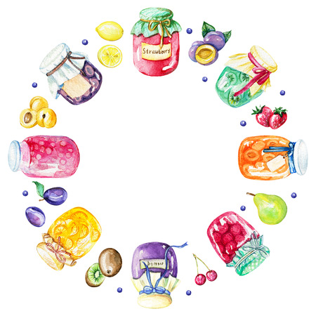 Round bright frame with jams and fruits. Watercolor hand painted illustration Stockfoto