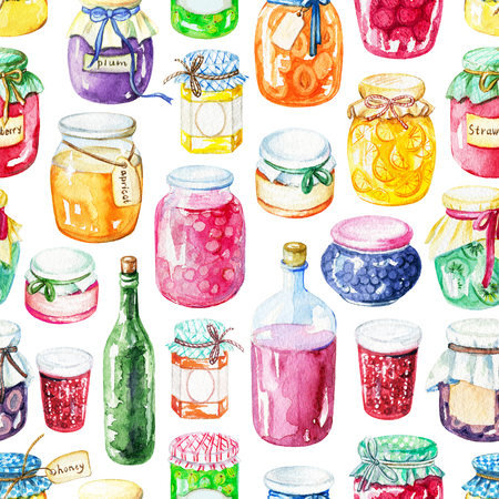 Seamless pattern with jars of jam isolated on white background. Watercolor hand drawn illustration