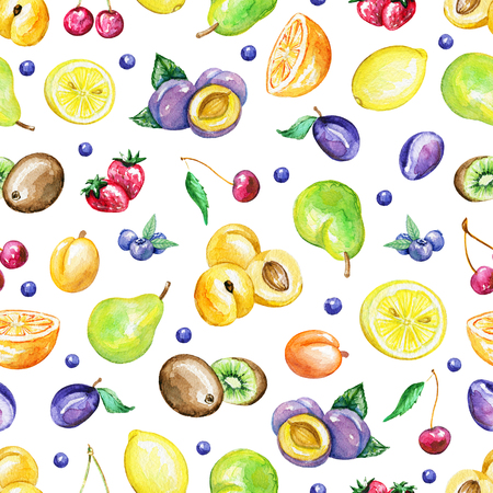 Seamless pattern with fruits isolated on white background. Watercolor hand drawn illustration